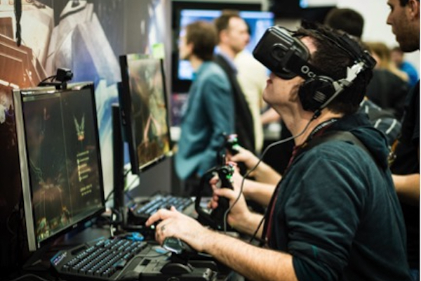 Oculus Rift VR at GDC 2015, https://www.flickr.com/photos/sergesegal/16579122379